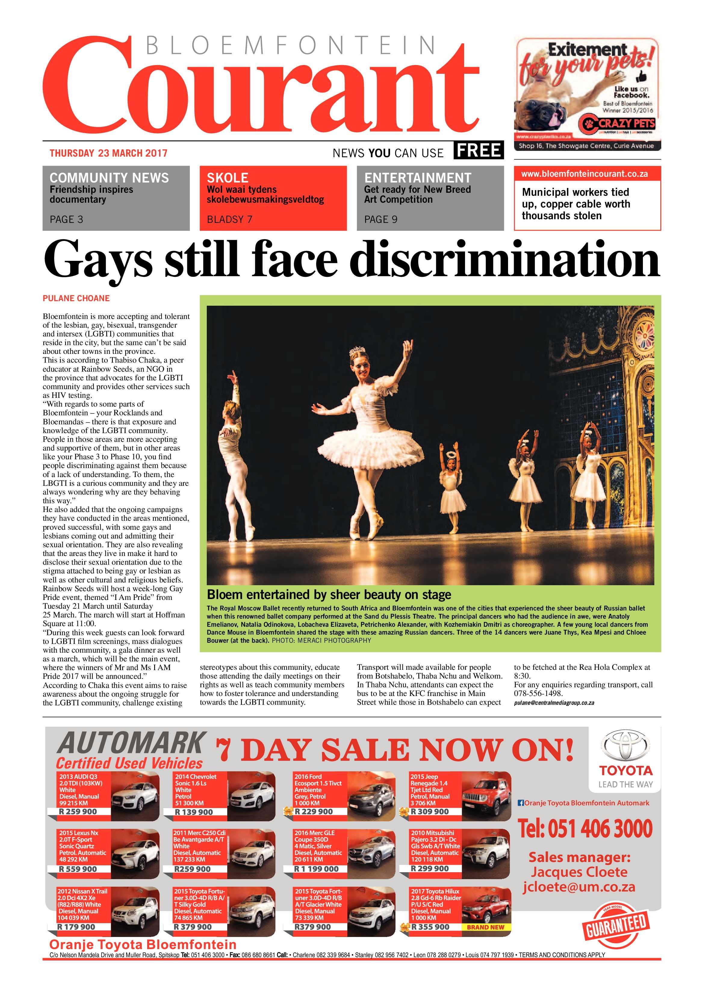 23 March 2017 Bloemfontein Courant Bloemfontein Courant
