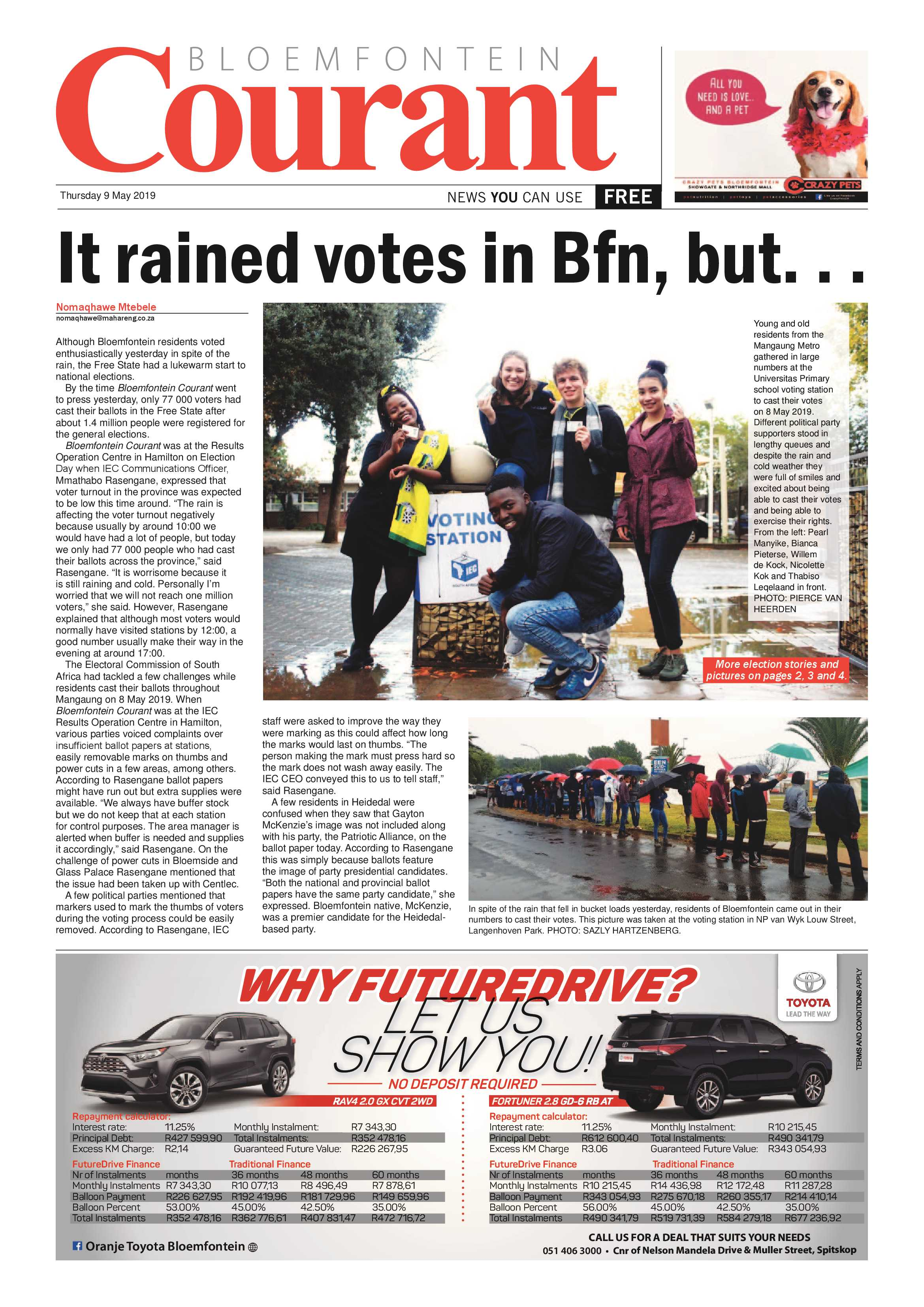 Courant 9 May 2019 - Bloemfontein Courant